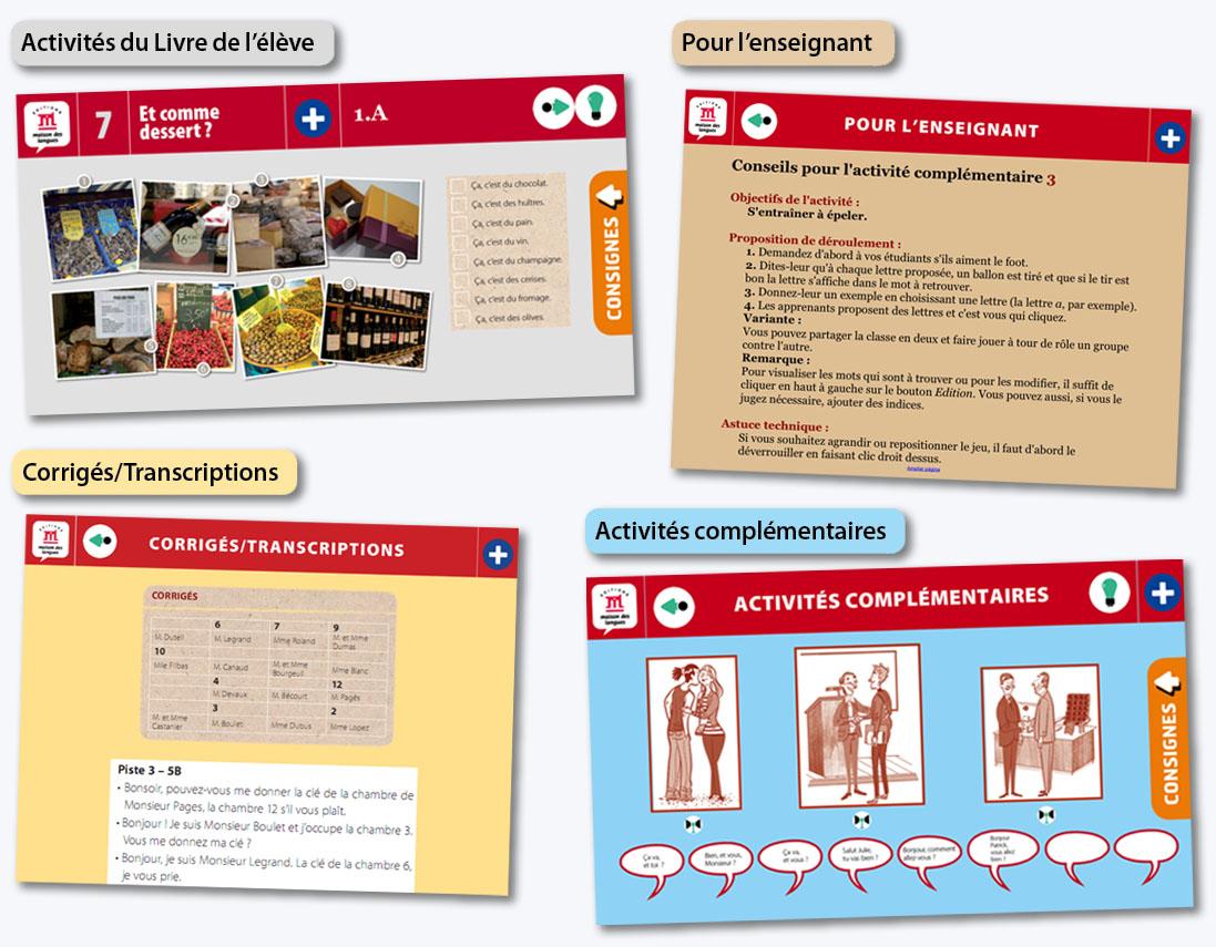 Types de pages sur les activités TNI+